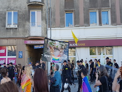 image of right-wing protesters during the gay pride in 2017 in Gdansk